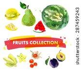 vector set of watercolor fruits ... | Shutterstock .eps vector #287459243