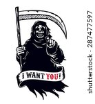 grim reaper with scythe in dark ... | Shutterstock .eps vector #287477597