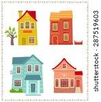 Two Story Houses   Cartoon Set...