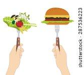 vegetables and hamburger on... | Shutterstock .eps vector #287536223