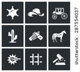 justice in the wild west icons... | Shutterstock .eps vector #287554037