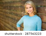 beautiful blonde single woman... | Shutterstock . vector #287563223