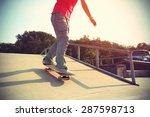 skateboarder legs riding... | Shutterstock . vector #287598713