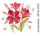 watercolor  flowers isolated on ... | Shutterstock . vector #287611553