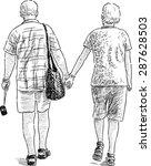 elderly couple on the stroll | Shutterstock .eps vector #287628503