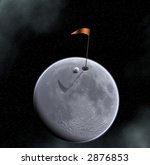 golf ball hole and flag on moon ... | Shutterstock . vector #2876853