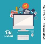 file storage design over blue... | Shutterstock .eps vector #287686757