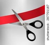 scissors cutting red ribbon | Shutterstock .eps vector #287701187