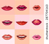 set of beautiful female lips... | Shutterstock .eps vector #287704163