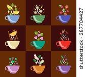 Cups With Tea Set Berries ...