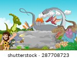 collection dinosaur with... | Shutterstock . vector #287708723