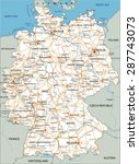high detailed germany road map... | Shutterstock .eps vector #287743073