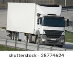 big white truck on the highway | Shutterstock . vector #28774624