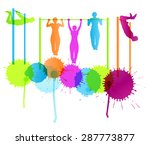 muscular men doing pull ups... | Shutterstock .eps vector #287773877