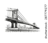 Bridge Hand Drawn  Vector...