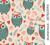 seamless background with owls | Shutterstock .eps vector #287823593