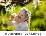 a lovely little girl with a... | Shutterstock . vector #287825483
