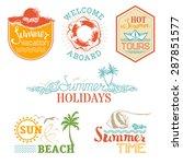 vector set of summer and... | Shutterstock .eps vector #287851577