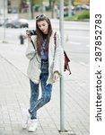 young fashion woman... | Shutterstock . vector #287852783