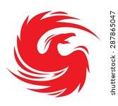 phoenix flapping wings emblem | Shutterstock .eps vector #287865047