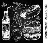 fast food set vintage linear... | Shutterstock .eps vector #287873783