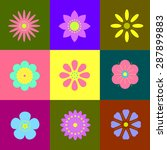 9 different vector flowers ... | Shutterstock .eps vector #287899883