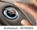 on finger about to press an... | Shutterstock . vector #287900003