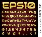 vector set of metallic letters... | Shutterstock .eps vector #287971133