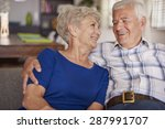happy senior couple on te sofa | Shutterstock . vector #287991707