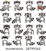 smiley racoons individually... | Shutterstock .eps vector #28799263