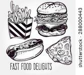 fast food set vintage linear... | Shutterstock .eps vector #288000443