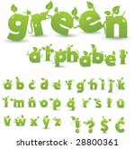 Vector Green Floral Alphabet