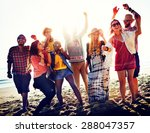teenagers friends beach party... | Shutterstock . vector #288047357
