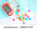 glucometer with unhealthy food...   Shutterstock . vector #288047447