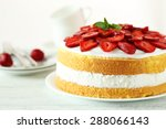 Sweet Cake With Strawberries O...