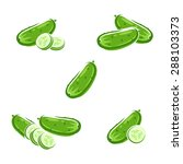 cucumbers set. vector | Shutterstock .eps vector #288103373