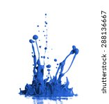 blue paint splash isolated in...