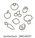 hand drawn drawings of fruits... | Shutterstock .eps vector #288146957