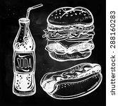 fast food set vintage linear... | Shutterstock .eps vector #288160283