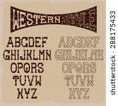 grunge western alphabet   Shutterstock .eps vector #288175433
