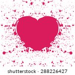 hand drawn painted red heart ... | Shutterstock .eps vector #288226427