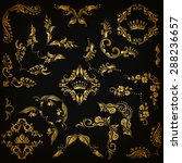 vector set of gold decorative... | Shutterstock .eps vector #288236657