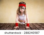 Funny Strong Child. Girl Power...