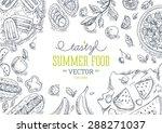 summer food frame. linear... | Shutterstock .eps vector #288271037