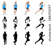 female runner silhouettes and... | Shutterstock .eps vector #288293597