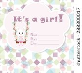 Baby Girl Arrival Card. Baby...