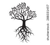 black vector tree and roots | Shutterstock .eps vector #288331457