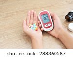 hands hold glucometer and... | Shutterstock . vector #288360587
