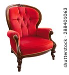 antique red  armchair isolated...