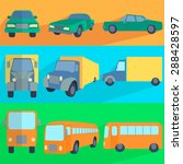 symbols car  truck  bus. set... | Shutterstock .eps vector #288428597